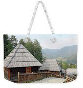 Village With Wooden Cabin Log On Mountain Weekender Tote Bag