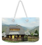Village With Wooden Houses On Mountain Weekender Tote Bag