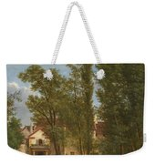 Villagers And Animals In A Landscape Beside A Bridge At The Entrance Of A Village Weekender Tote Bag