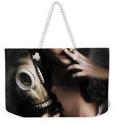Vintage Army Pinup Girl Holding Gas Mask Weekender Tote Bag