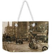 Vintage Bike Lady Weekender Tote Bag