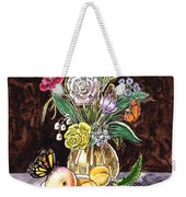 Vintage Bouquet With Fruits And Butterfly  Weekender Tote Bag