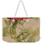 Vintage Burlap Floral Weekender Tote Bag