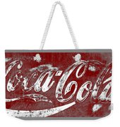 Coca Cola Red And White Sign Gray Border With Transparent Background Weekender Tote Bag