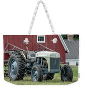 Vintage Ford Farm Tractor With Red Barn Weekender Tote Bag