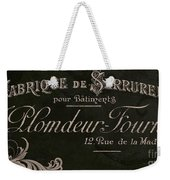 Vintage French Typography Sign Weekender Tote Bag