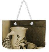 Vintage Grooming Set And Stoneware Water Pitcher In Sepia Tones Weekender Tote Bag