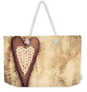 Vintage Handmade Plush Heart Pillow On The Soft Blanket Weekender Tote Bag