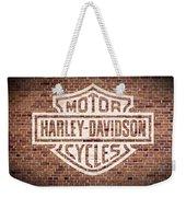 Vintage Harley Davidson Logo Painted On Old Brick Wall Weekender Tote Bag