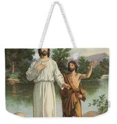 Vintage Illustration Of The Baptism Of Christ Weekender Tote Bag