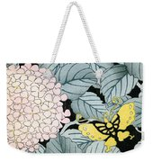 Vintage Japanese Illustration Of A Hydrangea Blossoms And Butterflies Weekender Tote Bag