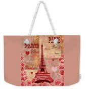 Vintage Paris And Roses Weekender Tote Bag