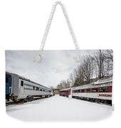Vintage Passenger Train Cars In Winter Weekender Tote Bag
