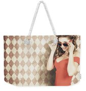 Vintage Pinup Fashion Model In Womens Sunglasses Weekender Tote Bag
