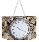 Vintage Pocket Watch Over Dried Flowers Weekender Tote Bag