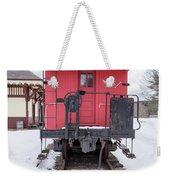 Vintage Red Caboose In The Snow Weekender Tote Bag