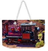 Vintage Red Calico Train Weekender Tote Bag