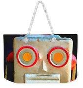 Vintage Robot Toy Square Pop Art Weekender Tote Bag