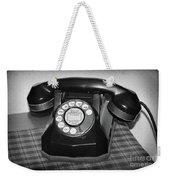 Vintage Rotary Phone Black And White Weekender Tote Bag
