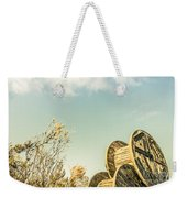 Vintage Spools And Farmyard Skies Weekender Tote Bag