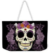 Vintage Sugar Skull And Roses Weekender Tote Bag by Tammy Wetzel