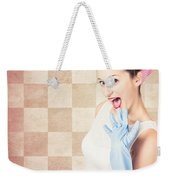 Vintage Surprised Pinup Woman Doing Housework Weekender Tote Bag
