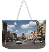 Vintage View Downtown Austin Looking Up Congress Avenue In Front Weekender Tote Bag