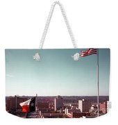 Vintage View Of The Texas And Usa Flags Flying On Top Of Texas State Capitol Weekender Tote Bag