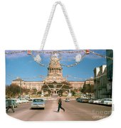Vintage View Of The Texas State Capitol And Christmas Decorations Strung Along Congress Avenue From December 1960 Weekender Tote Bag