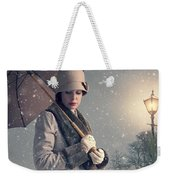 Vintage Woman With Coat Hat And Umbrella Outside In Snow Weekender Tote Bag