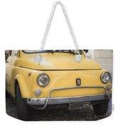 Vintage Yellow Fiat 500 In Rome Weekender Tote Bag