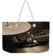 Vinyl Record Playing On A Turntable In Sepia Weekender Tote Bag