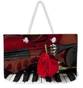 Violin And Rose On Piano Weekender Tote Bag