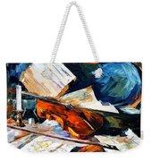 Violin - Palette Knife Oil Painting On Canvas By Leonid Afremov Weekender Tote Bag
