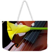 Violin With Yellow Calla Lily Weekender Tote Bag