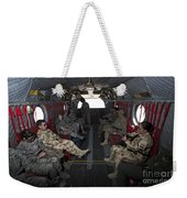 Vips In A Ch-47 Chinook Helicopter Weekender Tote Bag