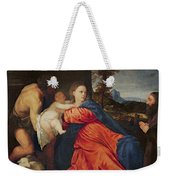Virgin And Infant With Saint John The Baptist And Donor Weekender Tote Bag