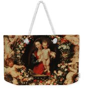 Virgin With A Garland Of Flowers Weekender Tote Bag by Peter Paul Rubens