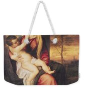 Virgin With Child At Sunset Weekender Tote Bag by Titian