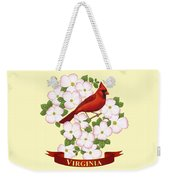 Virginia State Bird Cardinal And Flowering Dogwood Weekender Tote Bag by Crista Forest
