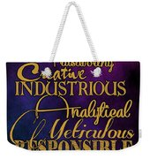 Virgo Weekender Tote Bag by Mamie Thornbrue
