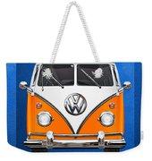 Volkswagen Type - Orange And White Volkswagen T 1 Samba Bus Over Blue Canvas Weekender Tote Bag