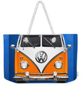 Volkswagen Type - Orange And White Volkswagen T 1 Samba Bus Over Blue Canvas Weekender Tote Bag by Serge Averbukh