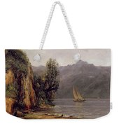 Vue Du Lac Leman Weekender Tote Bag by Gustave Courbet