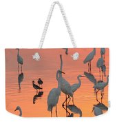 Wading Birds Forage In Colorful Sunset Weekender Tote Bag