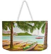 Waikiki Beach Outrigger Canoes 344 Weekender Tote Bag