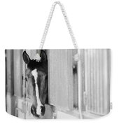 Waiting For A Ride Black And White Weekender Tote Bag