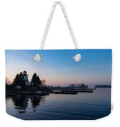Waiting For Sunrise - Blue Hour At The Lighthouse Infused With Soft Pink Weekender Tote Bag