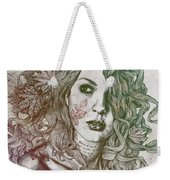 Wake - Autumn - Street Art Woman With Maple Leaves Tattoo Weekender Tote Bag
