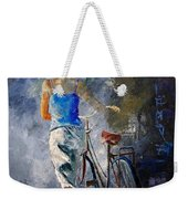 Waking Aside Her Bike 68 Weekender Tote Bag